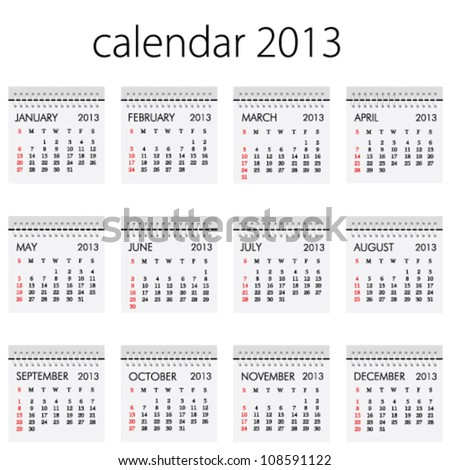 calendar 2013 With All Month Vector - stock vector
