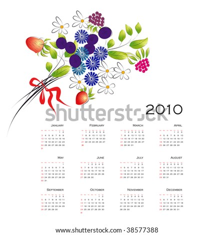Calendar 2010 with Bouquet from flowers and berries