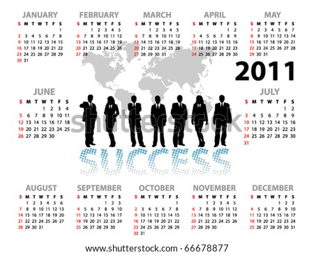 Calendar with businessmen for 2011