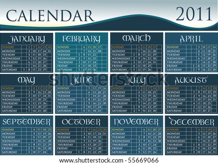 Calendar 2011 with calligraphic letters - stock vector