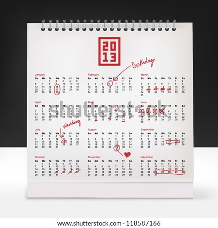 Calendar with collection of hand-drawn,text correction and highlighted days - stock vector