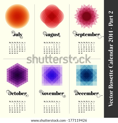 Calendar 2014 with colorful rosettes, 6 months, part 2 - stock vector