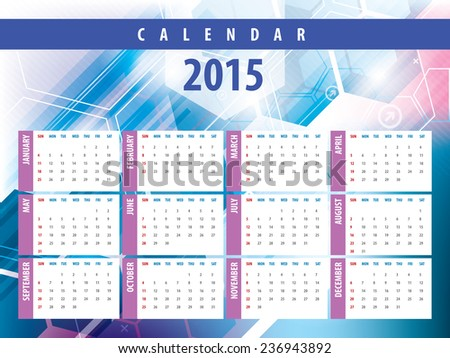 Calendar 2015 with futuristic technology designs