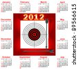 Calendar with icon Target and arrows. The American style. Vector. - stock vector