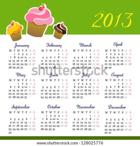 Calendar 2013 with muffin design - stock vector