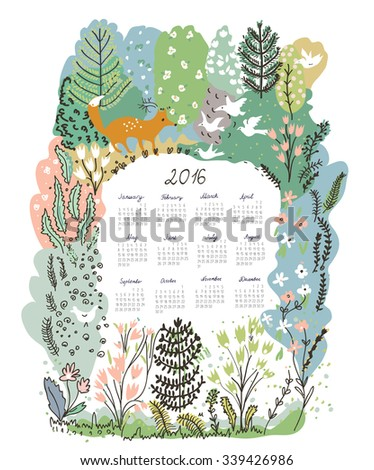Calendar 2016 with nature theme - trees and animals vector illustration