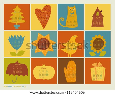 calendar with pictures 2013 - stock vector