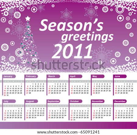 Calendar 2011 with purple christmas tree background