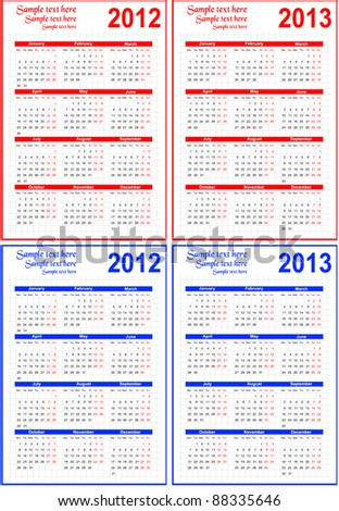 Calendar 2012, 2013 with room for text - stock vector