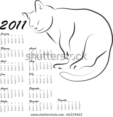 calendar 2011 with sleeping cat - stock vector