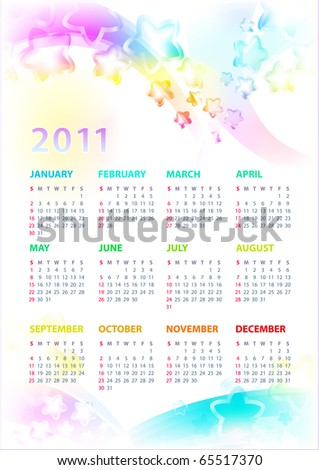 Calendar 2011 With the Stars. Eps10. - stock vector