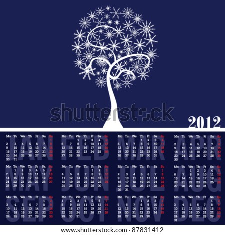 calendar 2012 with white tree and snowflake art illustration - stock vector
