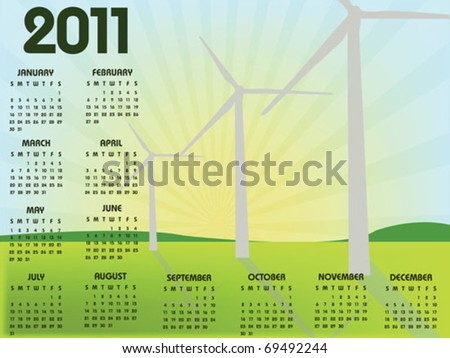 calendar 2011 with windmill landscape