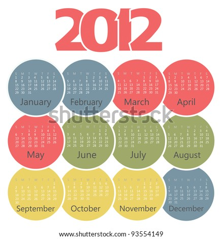 Calendar 2012 year - stock vector