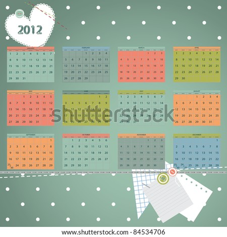 Calendar 2012 year. First day of week beginning on Sunday.  Scrapbook retro style vector illustration. - stock vector