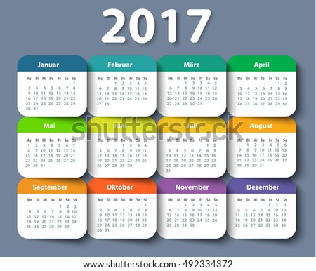 Calendar 2017 year German. Week starting on Monday. eps