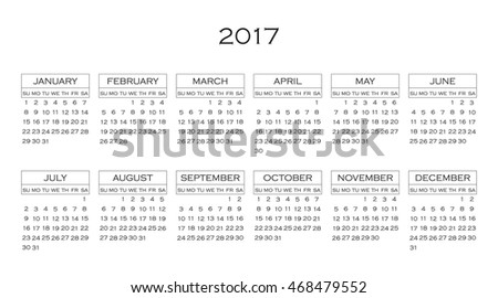 Calendar 2017 year in simple style. Months and days of week in English. Week starts from sunday. Text, thin frames in a separate layers.