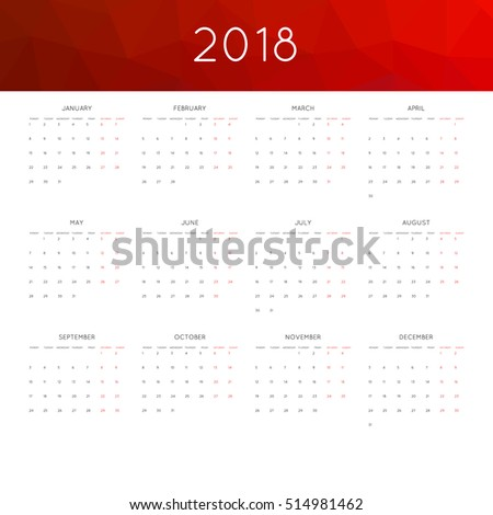 calendar 2019 year simple style abstract stock vector