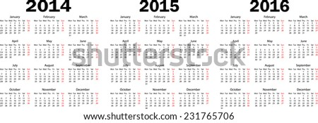 Calendar 2014, 2015, 2016 year. Triple. Week starts from monday. Vector illustration. - stock vector