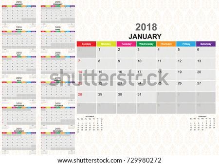Calendar Year 2018 Twelve Months Calendar Stock Photo Photo Vector