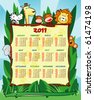 Calendar year two thousand and eleven with funny jungle animals, vector - stock vector