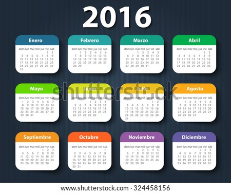 Calendar 2016 year vector design template in Spanish. EPS