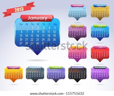 Calendar Year 2013 Vector Template - stock vector
