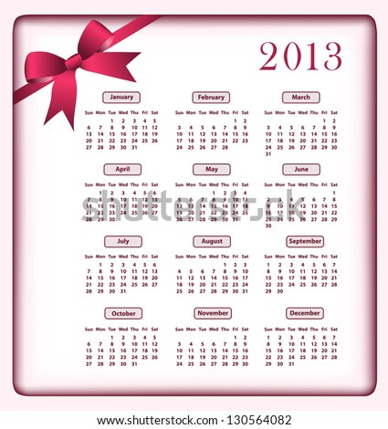 Calendar 2013 year with a red bow. Raster also available. - stock vector
