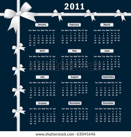 Calendar 2011 year with white bows on a dark background. Raster also available. - stock vector