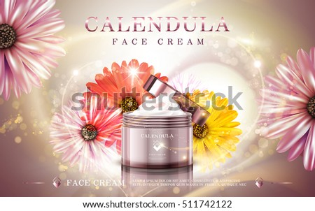 calendula facial cream ad, contained in cosmetic jars, 3d illustration