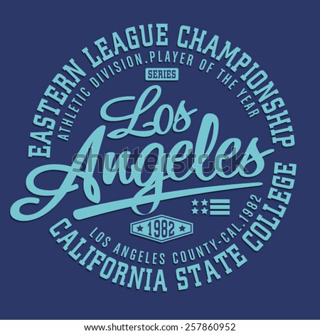 California athletic typography, t-shirt graphics, vectors