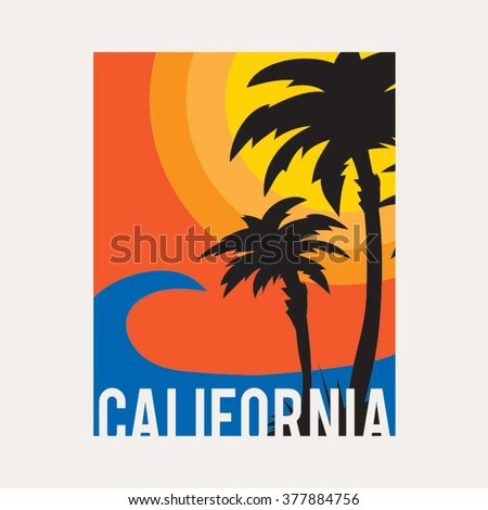 California beach typography, t-shirt graphics, vectors, surf  - stock vector