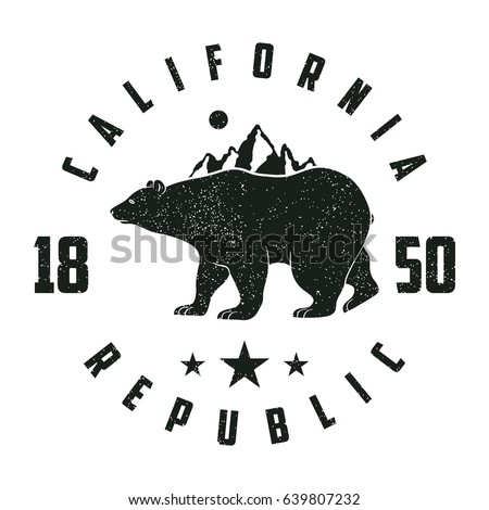 California Grunge Print With Bear And Mountains Vintage Graphic For Design Clothes T