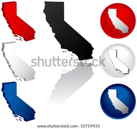 California Icons - stock vector