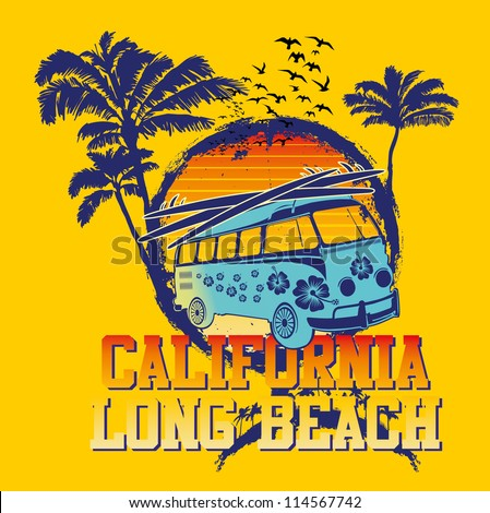 california long beach - stock vector