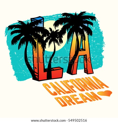 California, Los Angeles Vector Illustration with Palms, Vintage Design.