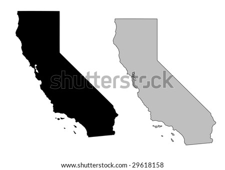 California map. Black and white. Mercator projection. - stock vector