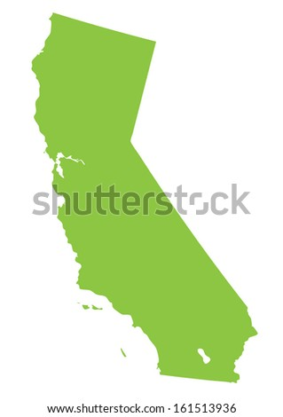 California map- green on white background - stock vector