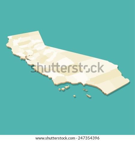 California Map Vector Three Dimensional - stock vector