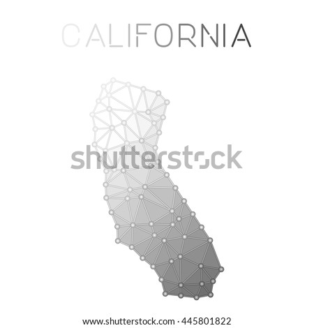 California Polygonal Vector Map Molecular Structure Us State Map Design Network Connections Polygonal California