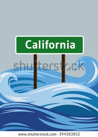 California road sign sinking in water flood - stock vector