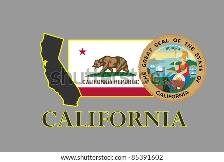 California state map, flag, seal and name.