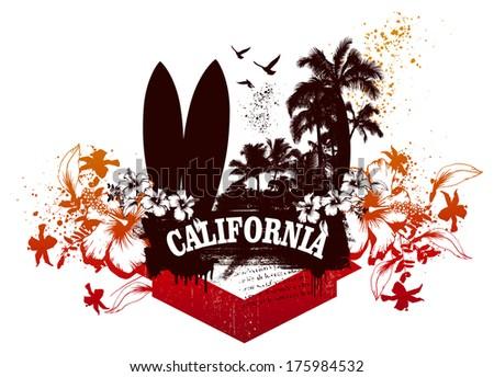 california surf and summer scene - stock vector