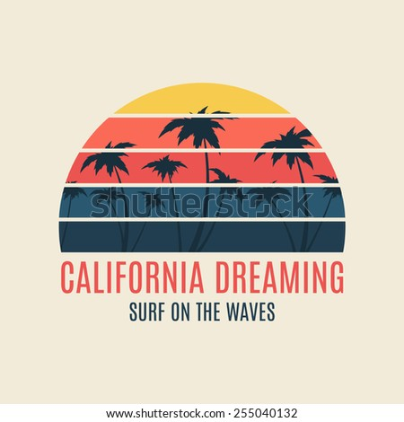 California surf illustration typography. Vector graphics of t-shirts. - stock vector