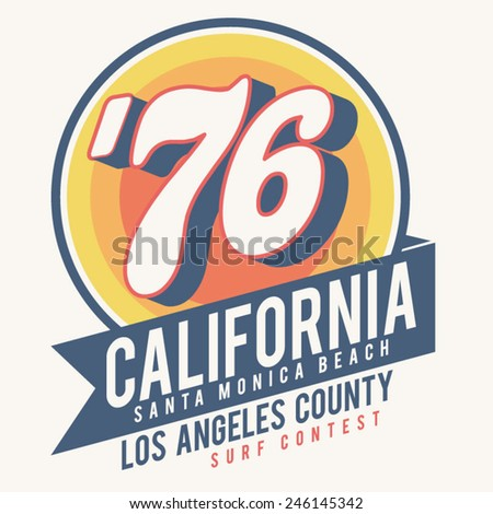 California surf typography, t-shirt graphics, vectors - stock vector