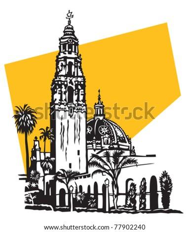 California tower in Balboa Park, San Diego - stock vector