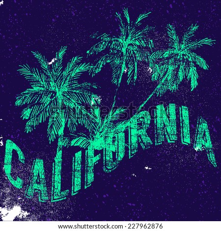 California, vector grunge floral artwork for summer t shirt with palm trees  - stock vector