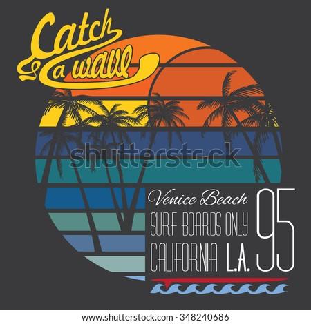 California Venice beach typography, t-shirt Printing design, Summer vector Badge Applique Label. - stock vector