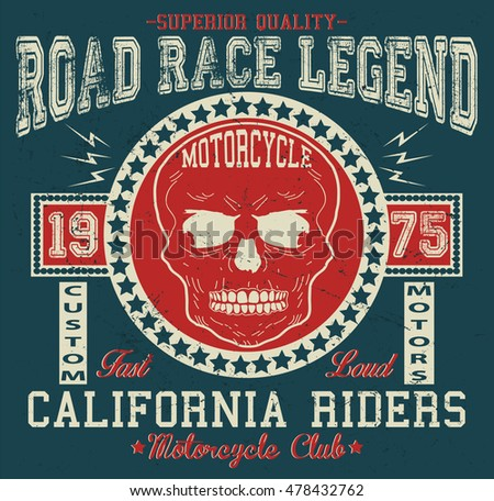 California vintage motorcycle  typography, t-shirt graphics, vectors