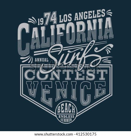 California Vintage Surf Typography T Shirt Graphics Vectors